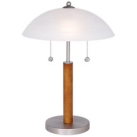 Orbital Brushed Steel and Wood Table Lamp