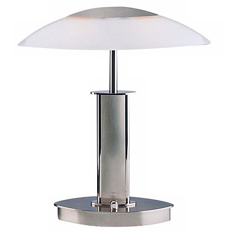 Mini Polished and Satin Nickel Holtkoetter Desk Lamp