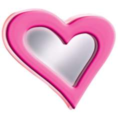 "Neon Pink Heart 23 1/2"" Wide Wall Mirror"
