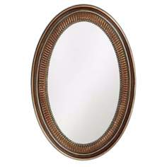"Ethan Museum Bronze Oval 31"" High Wall Mirror"