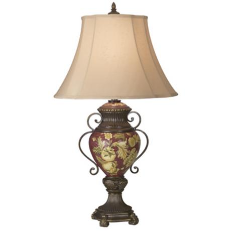 Possini® Collection Tuscan Red Floral Urn Table Lamp