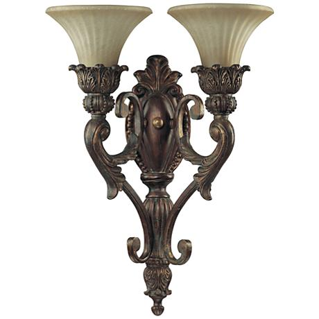"Quorum Madeleine 21 1/2"" High Gold 2-Light Wall Sconce"