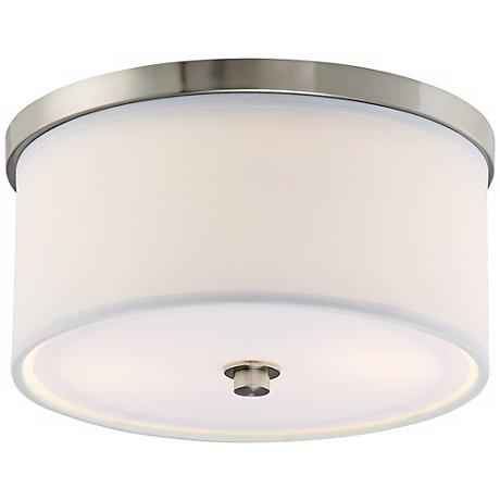 "Energy Efficient White Fabric 10 1/4"" Wide Ceiling Light"