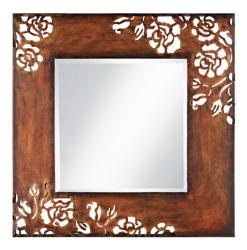 Rose Motif Wall Mirror at LAMPS PLUS