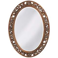 "Quinn Oval Antique Gold 37"" Wide Wall Mirror"