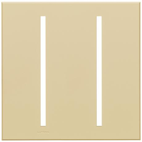 Lutron Vierti Beige Two Gang Screwless Faceplate