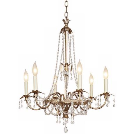 Schonbek Silver Gold Six Light Chandelier