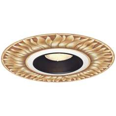 "Juno 6"" Blanc Black Recessed Trim with Florentine Medallion"