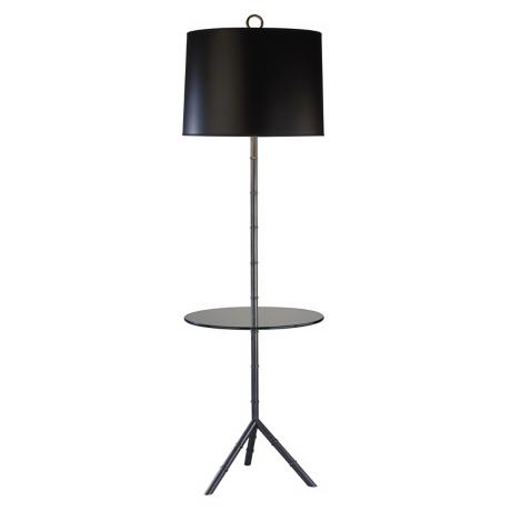 Jonathan Adler Meurice Patina Bronze Tray Table Floor Lamp
