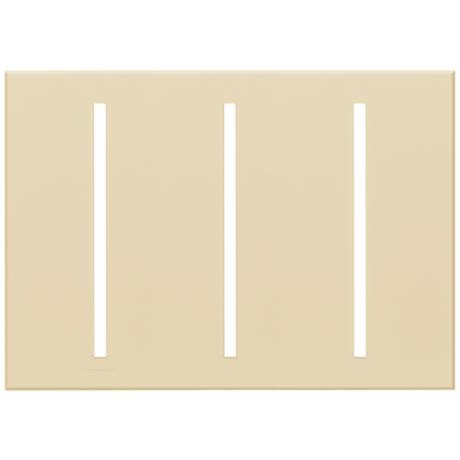 Lutron Vierti Light Almond Three Gang Screwless Faceplate