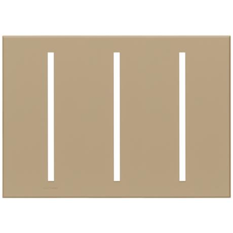 Lutron Vierti Taupe Three Gang Screwless Faceplate