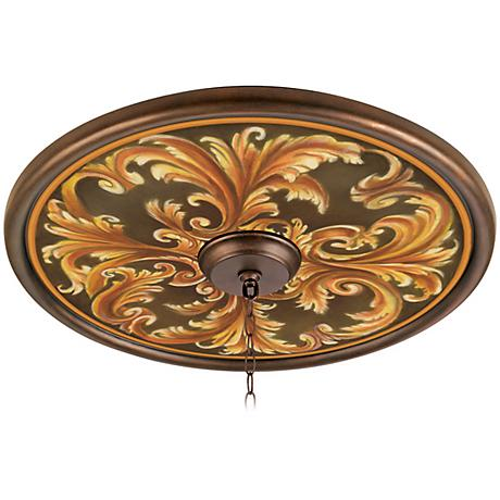 "Acanthus Regal 24"" Wide Bronze Finish Ceiling Medallion"