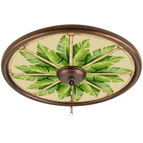"Pacific Palm 24"" Wide Bronze 4"" Opening Medallion"