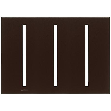 Lutron Vierti Brown Three Gang Screwless Faceplate