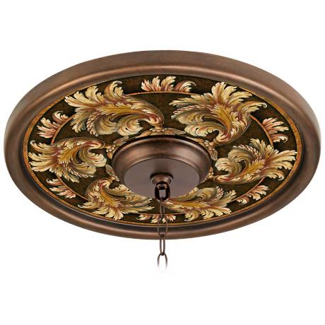 "Corinthian Jewel 16"" Wide Bronze Finish Ceiling Medallion"