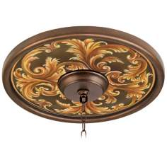 "Acanthus Regal 16"" Wide Bronze Finish Ceiling Medallion"