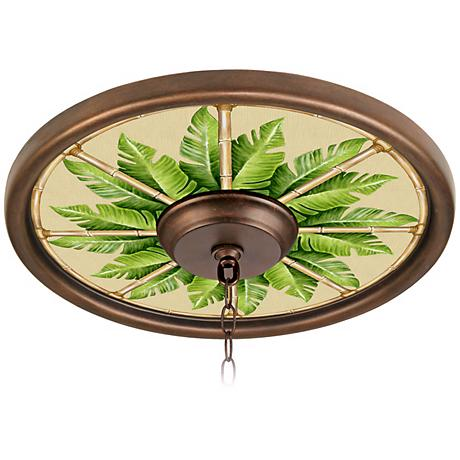 "Pacific Palm 16"" Wide Bronze 4"" Opening Medallion"