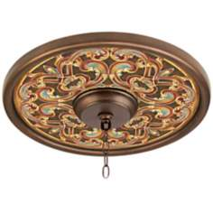 "Etruscan Scroll 16"" Wide Bronze Finish Ceiling Medallion"