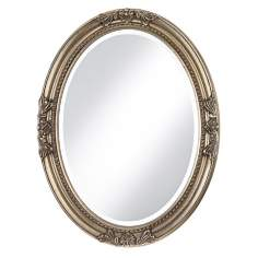 Emma Antique Silver Finish Oval Wall Mirror