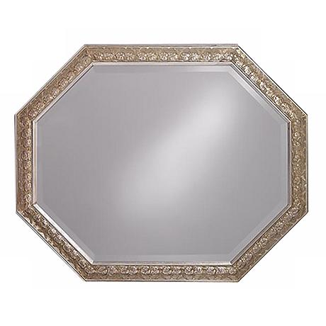 "Crete Antique Silver Octagonal 42"" Wide Wall Mirror"