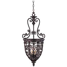 Open Scroll Cage Rubbed Bronze Finish Foyer Chandelier