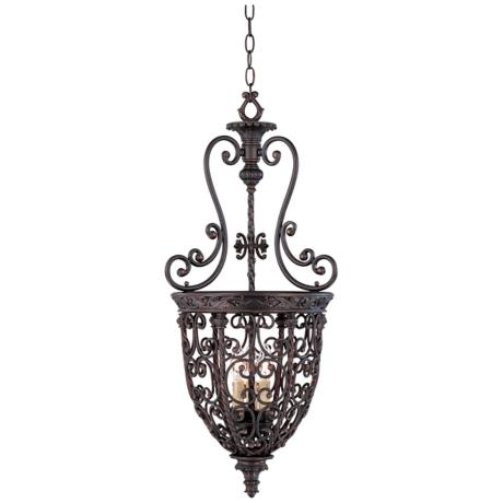 Open scroll cage rubbed bronze finish foyer chandelier for Unique foyer chandeliers
