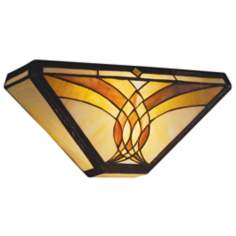 "Art Glass Joined Curves 15"" Wide Sconce"