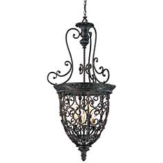 Open Scroll Cage Bronze Finish Nine Light Foyer Chandelier