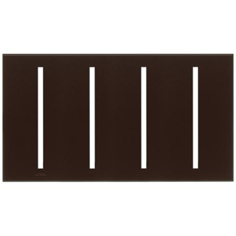 Lutron Vierti Brown Four Gang Screwless Faceplate