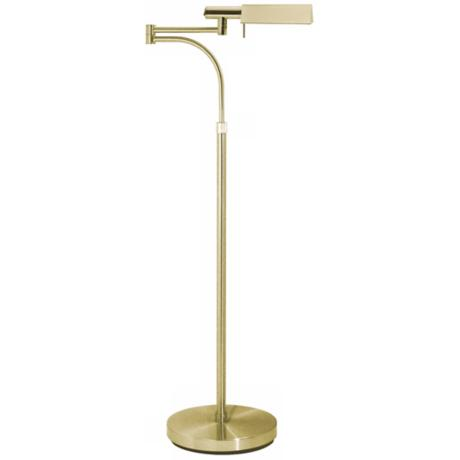Sonneman E-Tenda Satin Brass Swing Arm Pharmacy Floor Lamp