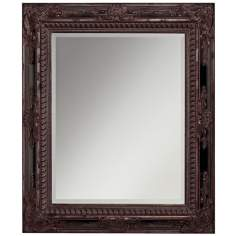 "Jerome Bronze and Black Inlay 37"" High Wall Mirror"
