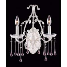 Opulence Two Light White Rose Crystal Wall Sconce