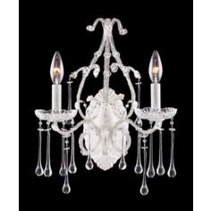 Opulence Two Light White Clear Crystal Wall Sconce