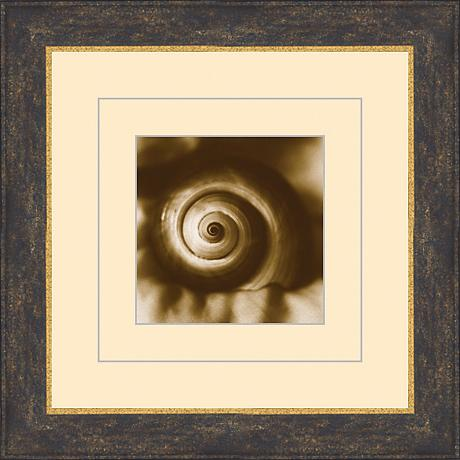 "Seashells in Sepia C 15 1/2"" Square Wall Art"