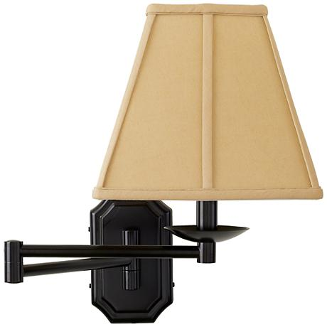 dark bronze beige shade plug in swing arm wall lamp. Black Bedroom Furniture Sets. Home Design Ideas