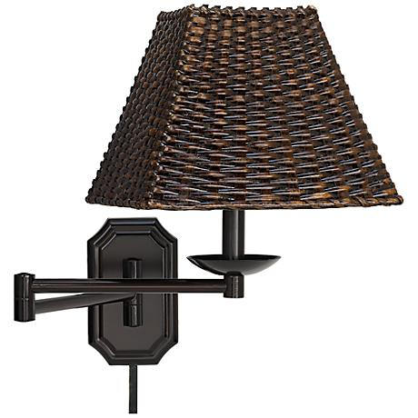 Plug In Wall Lamp With Cord Cover : Wicker Square Dark Bronze Plug-In Swing Arm with Cord Cover - #06063-U1248-05178 www.lampsplus.com