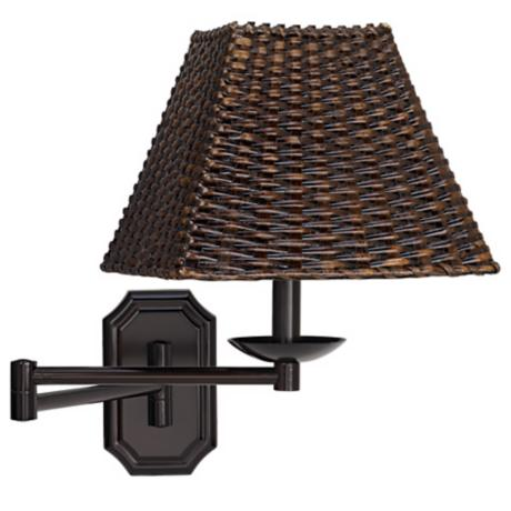 Bronze with Walnut Wicker Shade Plug-In Swing Arm Wall Lamp