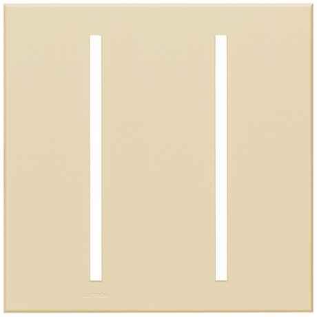 Lutron Vierti Light Almond Two Gang Screwless Faceplate