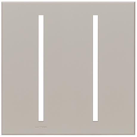 Lutron Vierti Gray Two Gang Screwless Faceplate