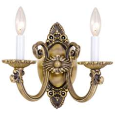 "Crystorama Cast Brass 9"" High Two Light Wall Sconce"