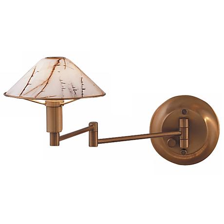 Holtkoetter Antique Brass Swing Arm Wall Lamp