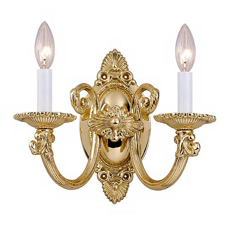 "Polished Brass 11 1/2"" High Two Light Wall Sconce"