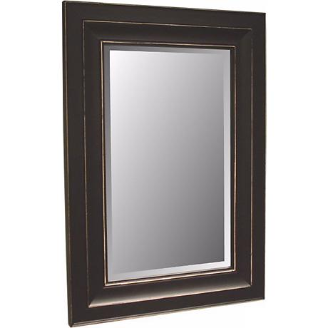 "Bar Harbour Distressed Black Finish 46"" High Wall Mirror"
