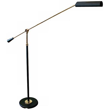 House of Troy Polished Brass and Black Floor Piano Lamp