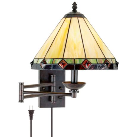 Tiffany Style Glass Panel Plug-In Swing Arm Wall Lamp - #06749 LampsPlus.com
