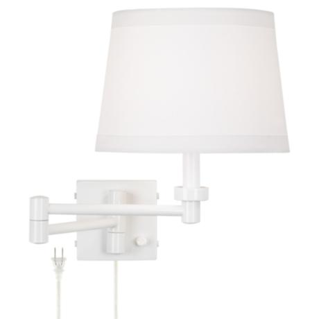 White Plug-In Swing Arm Wall Lamp