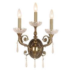 "Brass and Crystal 14 1/2"" High Three Light Wall Sconce"