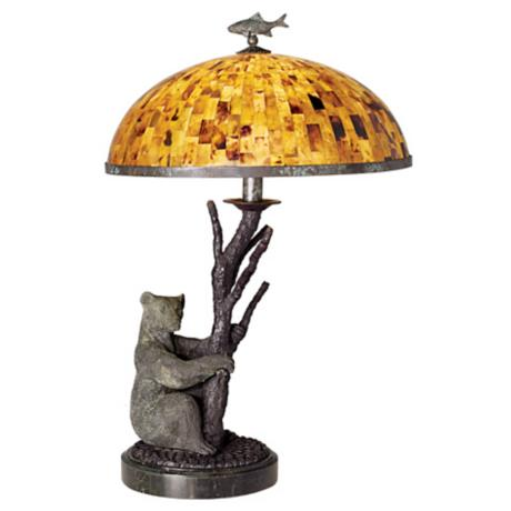 Maitland-Smith Tree Trunk Bear Pen Shell Shade Table Lamp