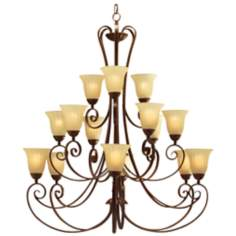 Kichler Umber Etched Glass 15-Light Large Chandelier