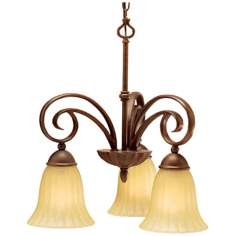 Scroll Umber Three Light Chandelier